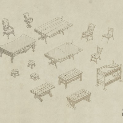 S.O.S Créatures - Croquis mobilier